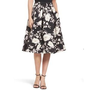 Eliza J Black and White Floral Midi Skirt